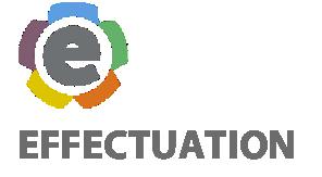 Buntes E-Logo und Schriftzug Effectuation